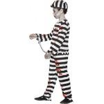 Smiffy's 44326M - Zombie Convict Costume Nero con Pantaloni Cappello Superiore & Polso Polsini, M