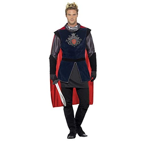 Smiffys Costume Re Artù deluxe, Nero, con top, mantello, guanti, copristivali e corona