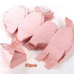 SODIAL (R) 50x Bomboniera scatola a farfalla rosa Accessori nozze tavola decorazione floreale Festa Battesimo
