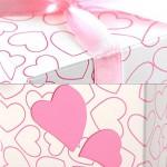 TOOGOO(R) 100X Bomboniera a cuori battesimo matrimonio tavolo decorazione rosa + nastro rosa