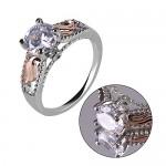 Anelli per donna taglio rotondo quattro artiglio zircone bling simulato diamante angelo ali design dichiarazione banda anello di fidanzamento matri...