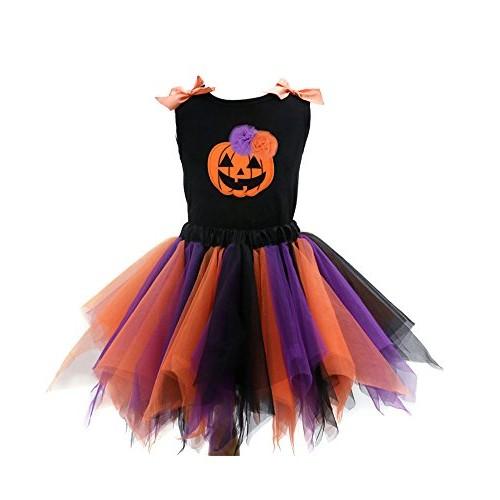 Sronjn Le ragazze vestono Girls Halloween stampate senza maniche Vest gonna colore set Casual Stile 1