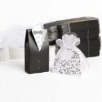 100pz. Sposo + 100pz. Sposa Carta di Bomboniera Per Confetti Caramelle Matrimonio Nero Bianco + Nastro
