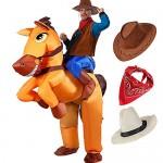 Tacobear Adulto Gonfiabile Cowboy Cavallo Costume Gonfiabile Costume per Halloween Carnevale Vestito Adulti Gonfiabile Cowboy Rider Costume con Cow...