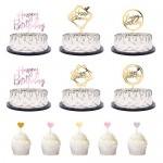 TankerStreet 26 Pezzi Cake Topper Compleanno Riutilizzabile Topper per Torte Compleanno Acrilico Happy Birthday Cake Topper per Torte, Gelati, Frut...