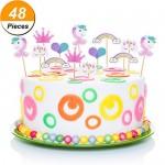 48 Pezzi Unicorno Cupcake Topper Arcobaleno Cuore Corona Torta Topper per Festa a Tema e Compleanno Torta Decorazione