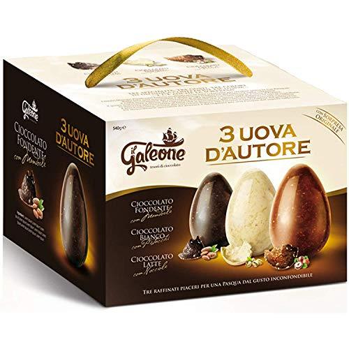 3 uova di pasqua FONDENTE e MANDORLE,BIANCO e PISTACCHI,LATTE e NOCCIOLE con fantastica SORPRESA, 540 gr