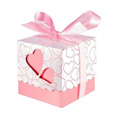 Tomkity 100 pz Scatole Portaconfetti di Carta Bomboniere Regalo Segnaposti Decorazioni per Festa Matrimonio Battesimo Compleanno, Incluso Nastrino