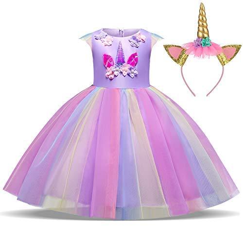 TTYAOVO Ragazze Unicorno Elegante Vestito da Principessa Bambini Fiore Concorso Festa Vestito Senza Maniche Balze Vestiti Taglia 5-6 Anni  (Tg prod...