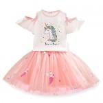 TTYAOVO Set di Abbigliamento per Ragazze, T-Shirt per Ragazze Unicorno con Vestito Principessa Tulle da Festa di Compleanno 4-5 Anni Unicorno Bianco