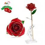 Rosa Regalo Fiore, U-KISS oro 24k Rosa in confezione regalo con Clear Display Stand per amante Madre Girlfrien, miglior regalo per San Valentino, l...