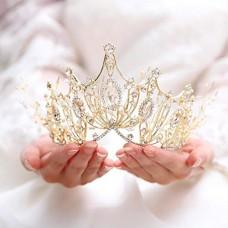 Unicra Corona nuziale e diadema, con strass dorati, corona da regina per donne e ragazze