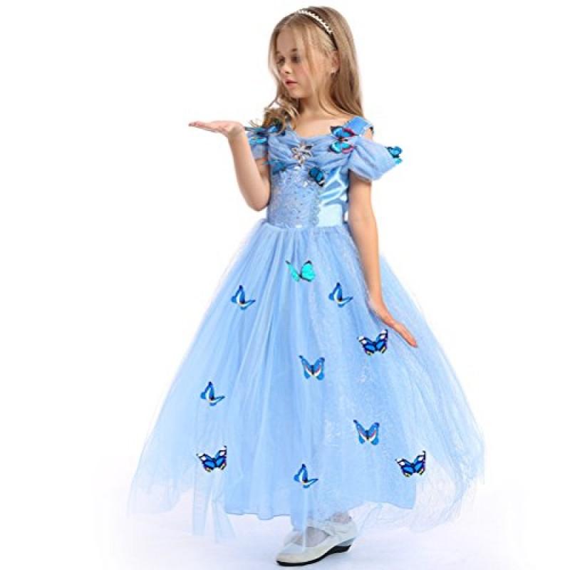 1acf54cca3b9 URAQT Costume Regina delle Ragazze della Principessa Dresses Blue Butterfly  Tulle Vestito Operato da Sposa Cenerentola Gonna