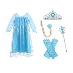 URAQT Regina Elsa Principessa Costume Halloween Abiti Carnevale Bambini Accessori