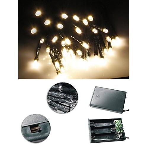 Vetrineinrete® Luci natalizie led a batteria per presepe e albero di natale catena luminosa 20 led luce calda 2 metri stringa serie mini lucciole E54