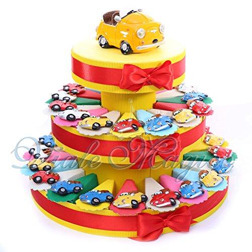 Torta Bomboniere Magnete Macchinina Colorate per Compleanno (Torta da 35 Pezzi)