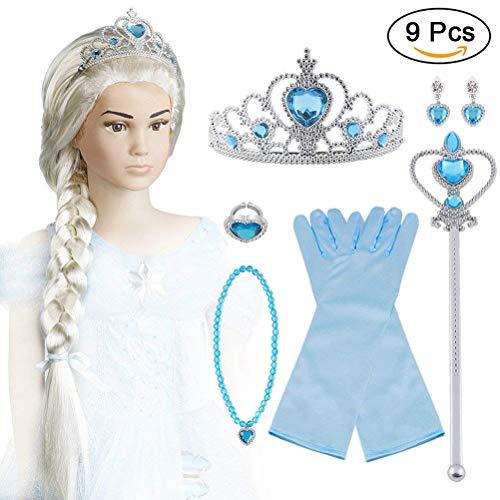 Vicloon Aggiornamento Accessori Costumi per Ragazze Costume Elsa Frozen Costume Carnevale - Parrucca / Diadema con Un Diamante / Guanti / Bacchetta...
