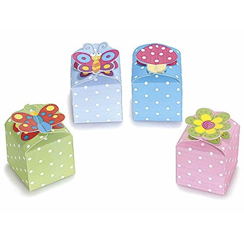 Scatolina (15 PEZZI) portaconfetti bonbon goody box in cartoncino colorato con pois con chiusura decorata a scelta in 4 colori (Verde)