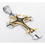 """Ciondolo a forma di croce, in acciaio inossidabile, collana da uomo con scritta """"Jesus Christ& preghiera il battesimo, colore oro"""