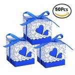 Bomboniere Scatola Cuore Portaconfetti Porta Confetti Segnaposto Regalo con il nastro raso 50pz (Bluette)