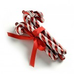 WeRChristmas, Decorazioni per albero di Natale, motivo: Bastoncini di zucchero, con luccichini e fiocchetto, 6 pz., Rosso e Bianco