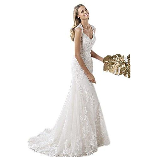 WeWind elegante principessa Tulle pizzo Con abiti vestiti da sposa Spalline Pizzo Stile