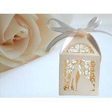 25 scatoline per confetti, ideali come bomboniere di matrimonio, per idee regalo, per decorare la tavola, design con motivo a forma di due fidanzat...