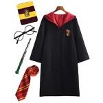 YONIER Costume per Adulti per Bambini Costume di Harry Potter Mantello Articoli per Set di cinematografici Bacchetta Magica Cravatta Sciarpa Occhia...