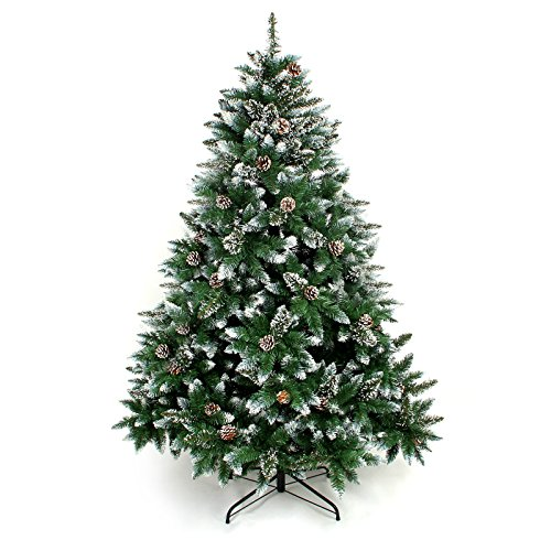 Yorbay Albero di Natale con Supporto 120cm-240cm per Decorazione di Natale (con Neve, 180cm)