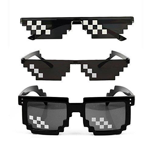 YSSHUI [3 Pack] Thug Life Occhiali da Sole, Uomo Donna Vetro 8 Bit Pixel Mosaico Occhiali Photo Props Unisex Occhiali da Sole Toy - Nero