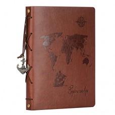 ZEEYUAN Album Scrapbook,Album Fotografico in Pelle Viaggio Mappa del Mondo Album Fotografico Fai-da-Te Retro Sketch Book San Valentino Regali Anniv...