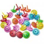 ZOEON 30 Pezzi Trottola in Legno, Giroscopio in Legno Colorati Artigianali Set per Bambini